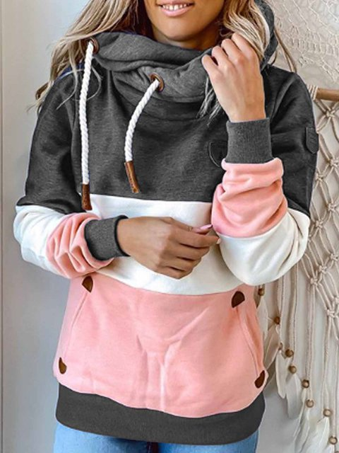Color-Block Hoodie Casual Shift Shirts & Tops