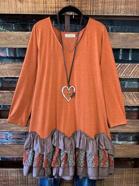 Orange Casual V Neck Shirts & Tops