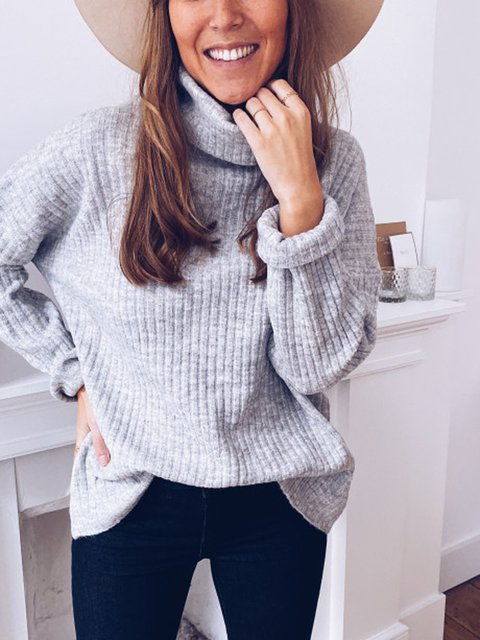 Gray Solid Casual Shift Sweater