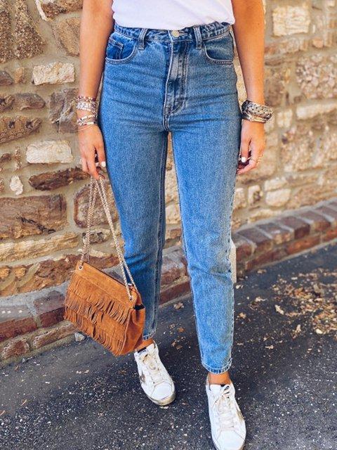Blue Casual Denim Sheath Pants