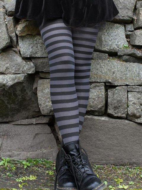 Stripe-Gray Striped Cotton-Blend Casual Pants