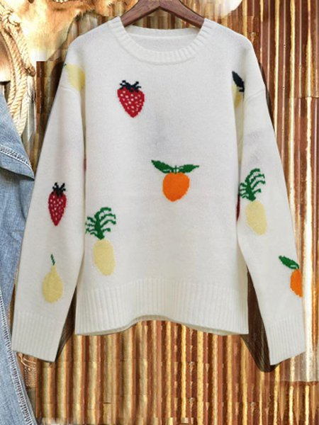 White Casual Cotton-Blend Sweater