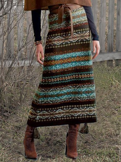 Brown A-Line Vintage Printed Tribal Skirts