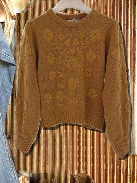 Camel Shift Vintage Jacquard Cotton-Blend Sweater