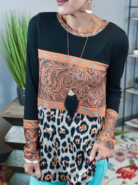 Leopard Cotton-Blend Casual Shirts & Tops