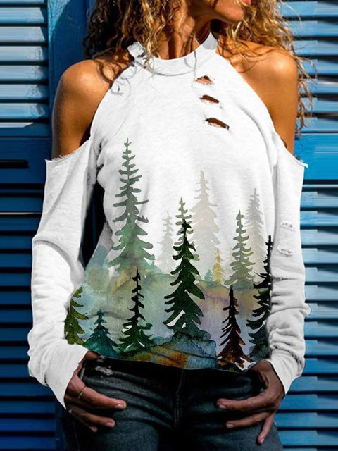 White Casual Plants Halter Shift Shirts & Tops