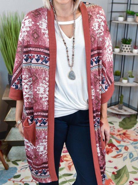Pink Shift 3/4 Sleeve Cotton-Blend Tribal Outerwear