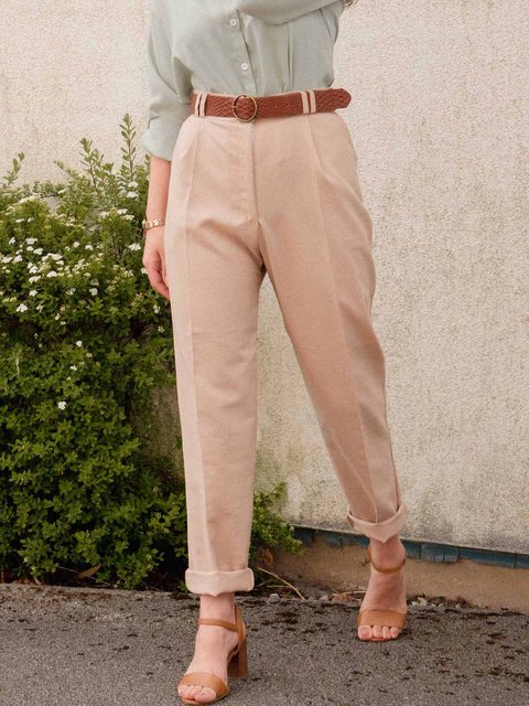 High Waisted Solid Color Casual Trousers