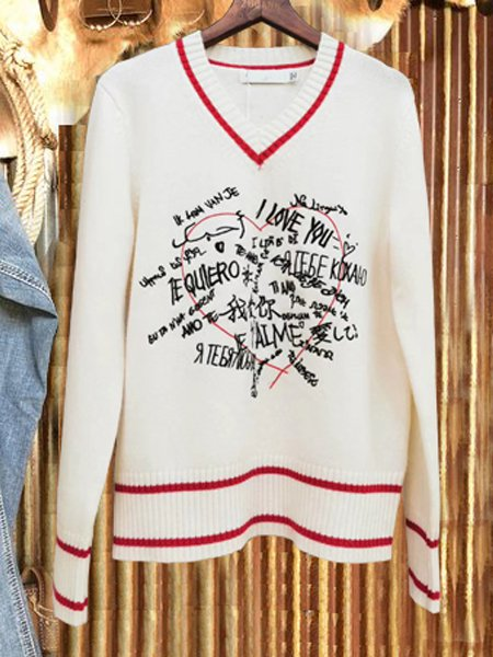 White Letter Shift Long Sleeve Sweater