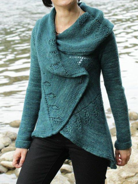 Blue Long Sleeve Cowl Neck Cross Sweater