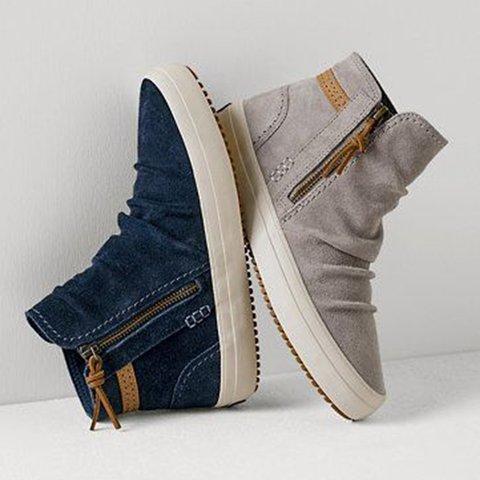 Flat Heel Artificial Leather All Season Zipper Sneakers