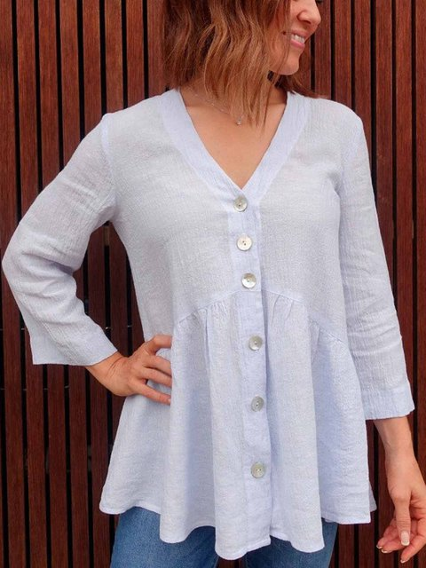 V-neck Long Sleeve Casual Tunic Tops