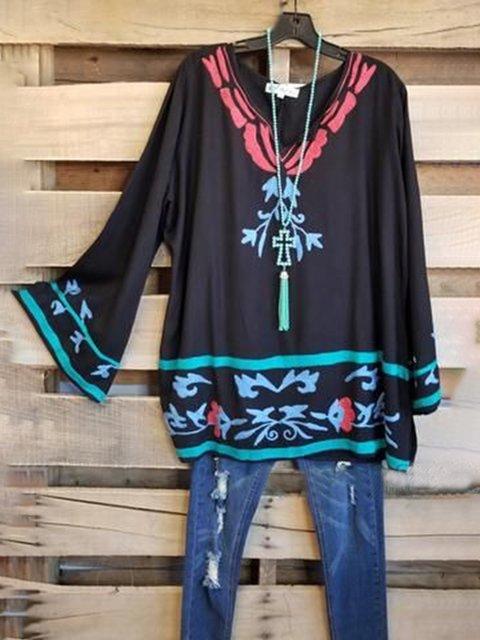 Black Long Sleeve Printed Shirts & Tops