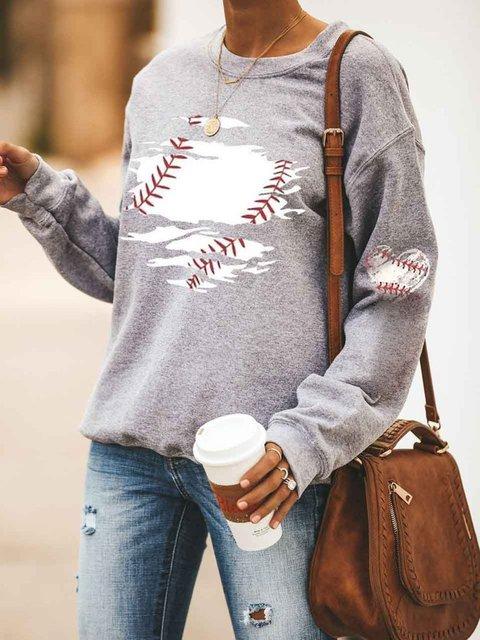 Baseball Printed Long Sleeve Pullover