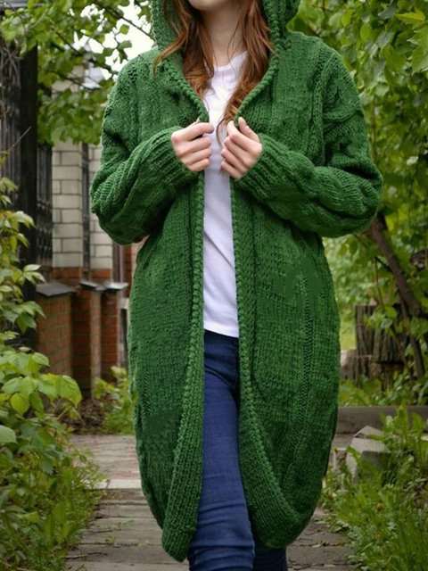 Green Knitted Hoodie Casual Sweater Outwear