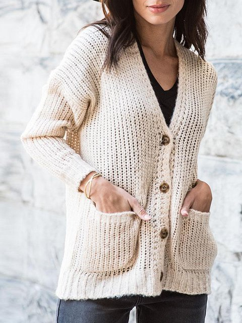 Beige Casual Long Sleeve Solid Sweater