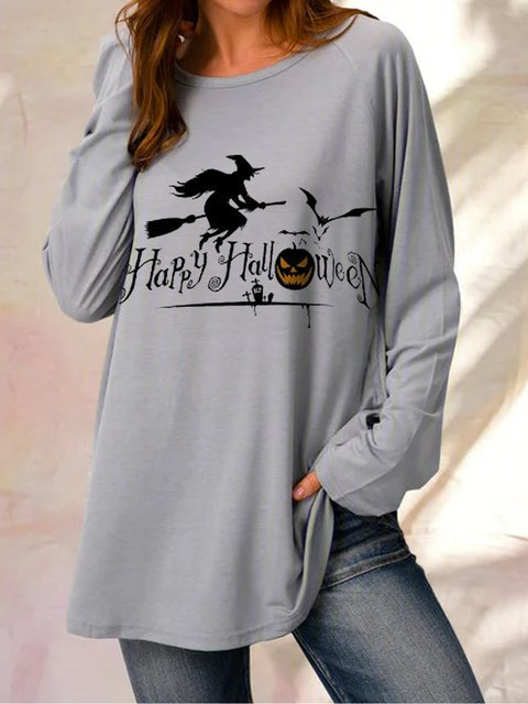 Happy Halloween Print Long Sleeve Loose Casual Top