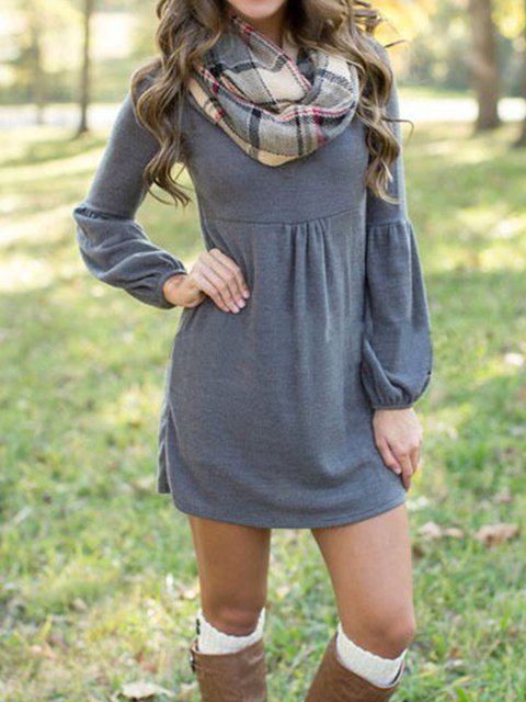 Simple slim V-neck dress with lantern sleeves