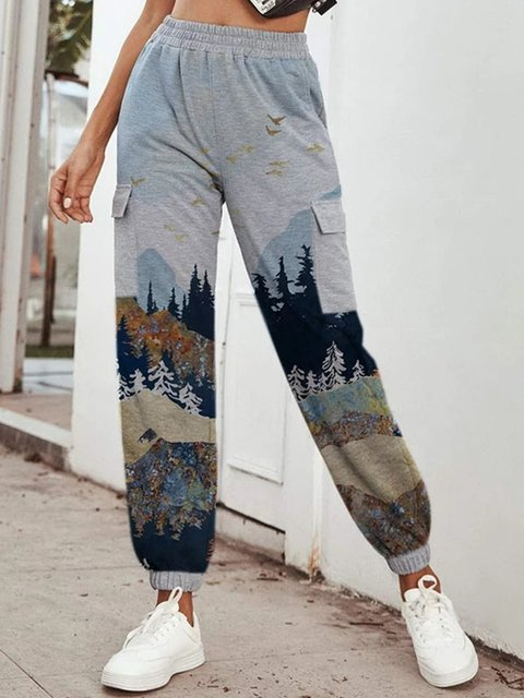 Mountain Printed Pouch Vintage Pockets Pants