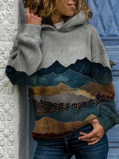 Vintage Hoodie Long Sleeve Landscape Printed Plus Size Statement Casual Sweatshirt