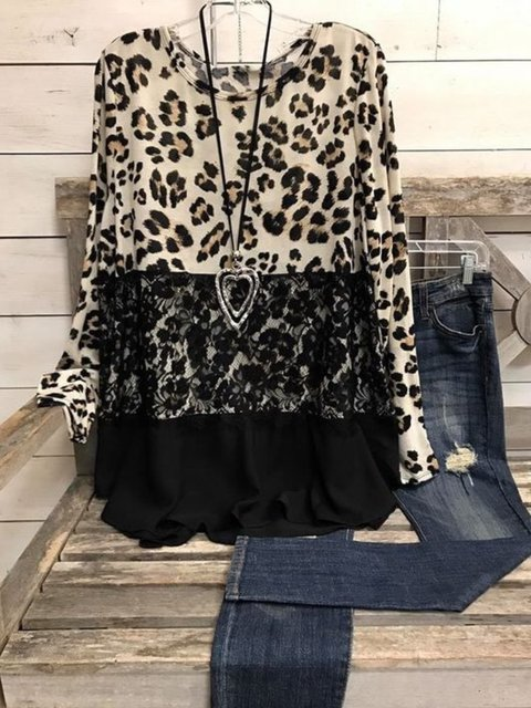 Casual Long Sleeve Round Neck Plus Size Printed Tops