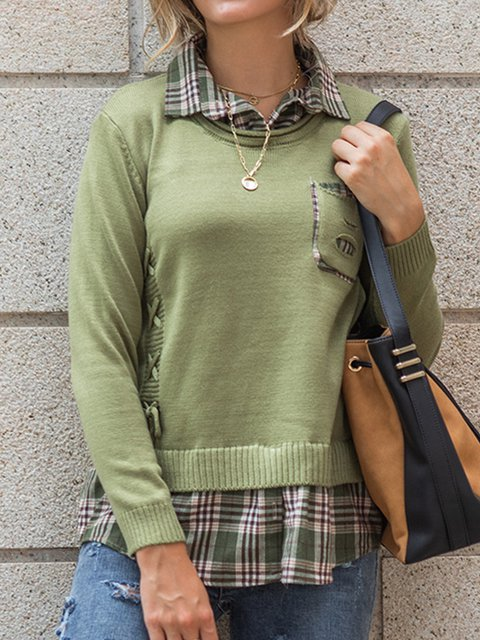 Knit sweater Fake two spliced long-sleeve pullovers