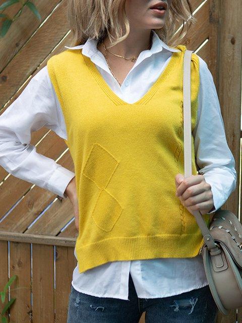 Women's 2-piece shirt knitted vest set