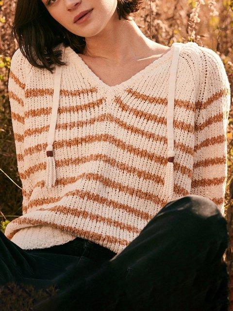Brown Acrylic Casual Long Sleeve Sweater
