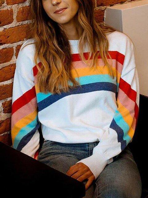 Rainbow Stripe Casual Long Sleeve Sweatshirt