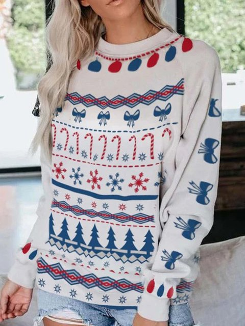 Casual Long Sleeve Christmas Print Sweatshirts