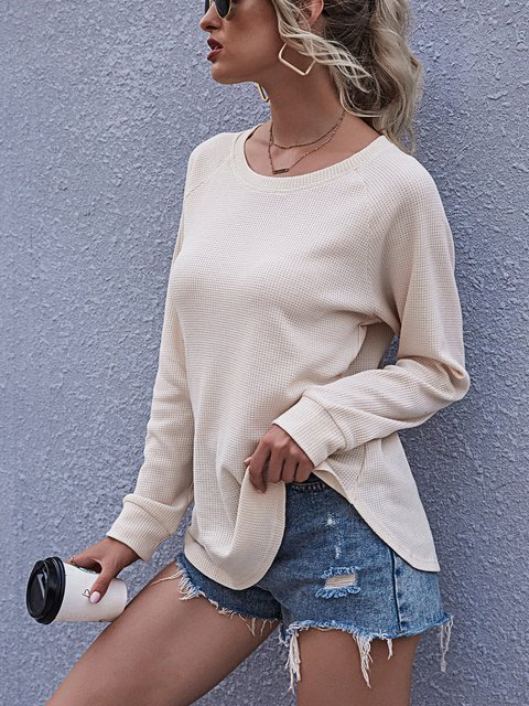 Solid Color Raglan Sleeve Crew Neck Swallow Tail Loose Casual T-shirt