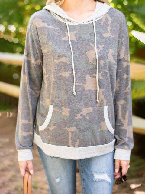 Green Cotton-Blend Long Sleeve Camo Hoodie