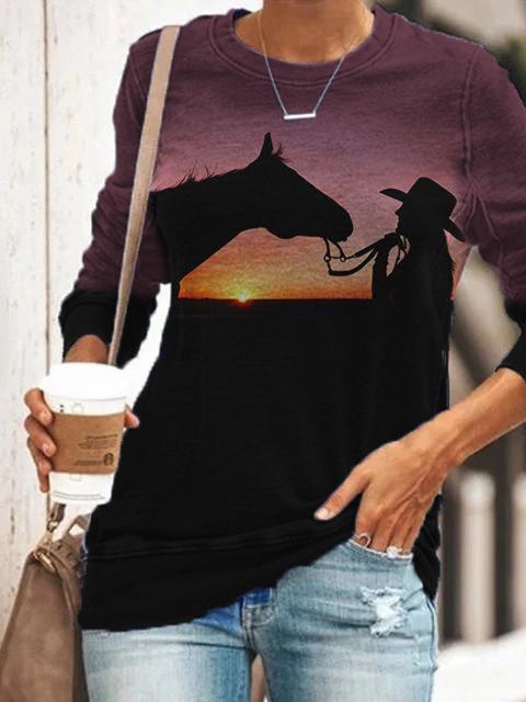 Ladies Horse Silhouette Pattern Printed Sweatshirt