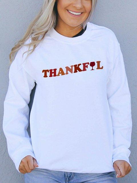 Thanksgiving  White Graphic Sweatshirt