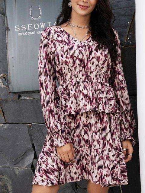 Pink Long Sleeve Ruffled Cotton-Blend V Neck Dresses