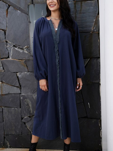 Blue Plain Casual Cotton-Blend Dresses
