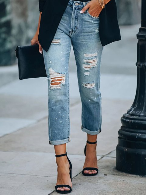 Thin Loose-fitting Straight-leg Jeans
