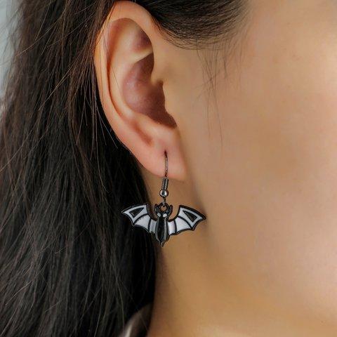 Black Alloy Casual Earrings
