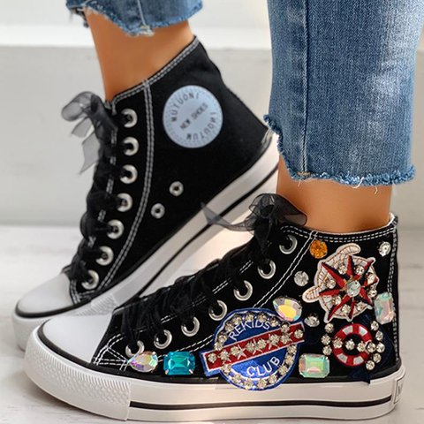 Labeled Rhinestone Mesh Laces Personality High-top Flat Canvas Shoes