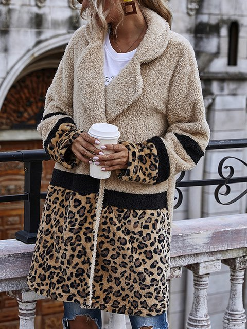 Leopard Turn-Down Collar Long Sleeve Cotton Outerwear