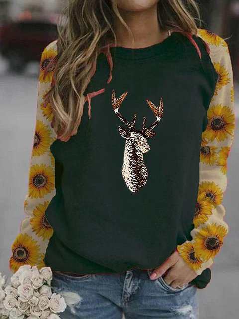 Cotton-Blend Long Sleeve Floral Shirts & Tops