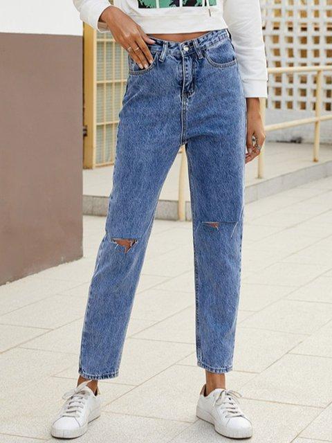 Denim Blue Cotton-Blend Shift Vintage Pants