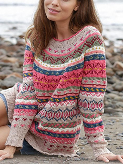 Multicolor Round Neck Long Neck Knitted sweater
