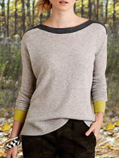 Gray Color-Block Vintage Sweater