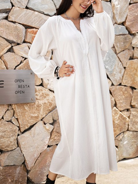 White Paneled V Neck Long Sleeve Dresses