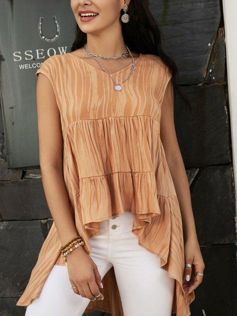 Brown Sleeveless Ruffled Swing V Neck Shirts & Tops