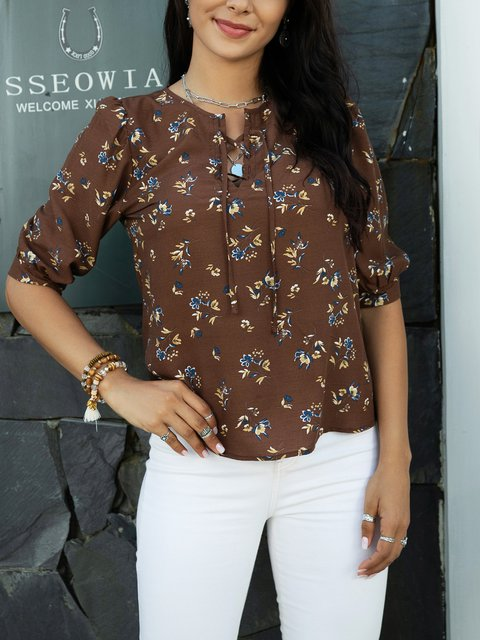 Coffee Cotton-Blend Casual Crew Neck Shirts & Tops