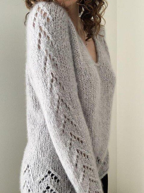 Gray Long Sleeve Shift Casual Acrylic Sweater