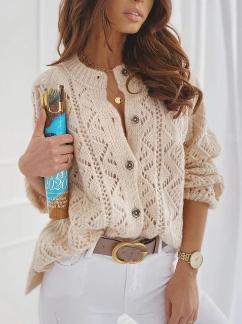 Apricot Casual Crew Neck Outerwear