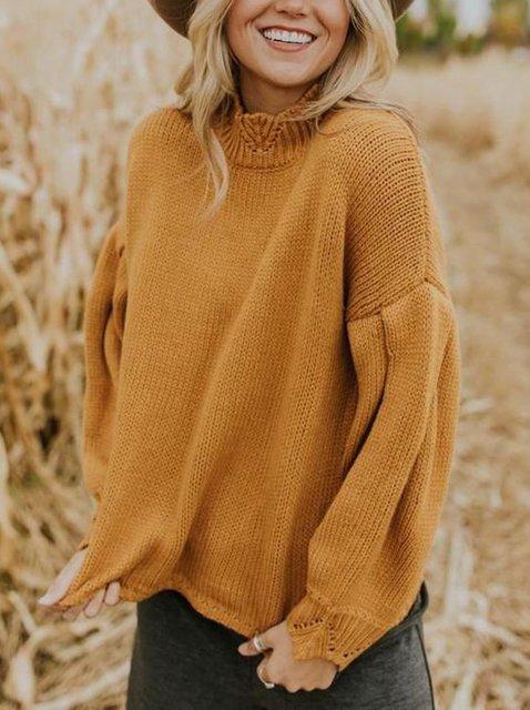 Yellow Turtleneck Shift Long Sleeve Sweater